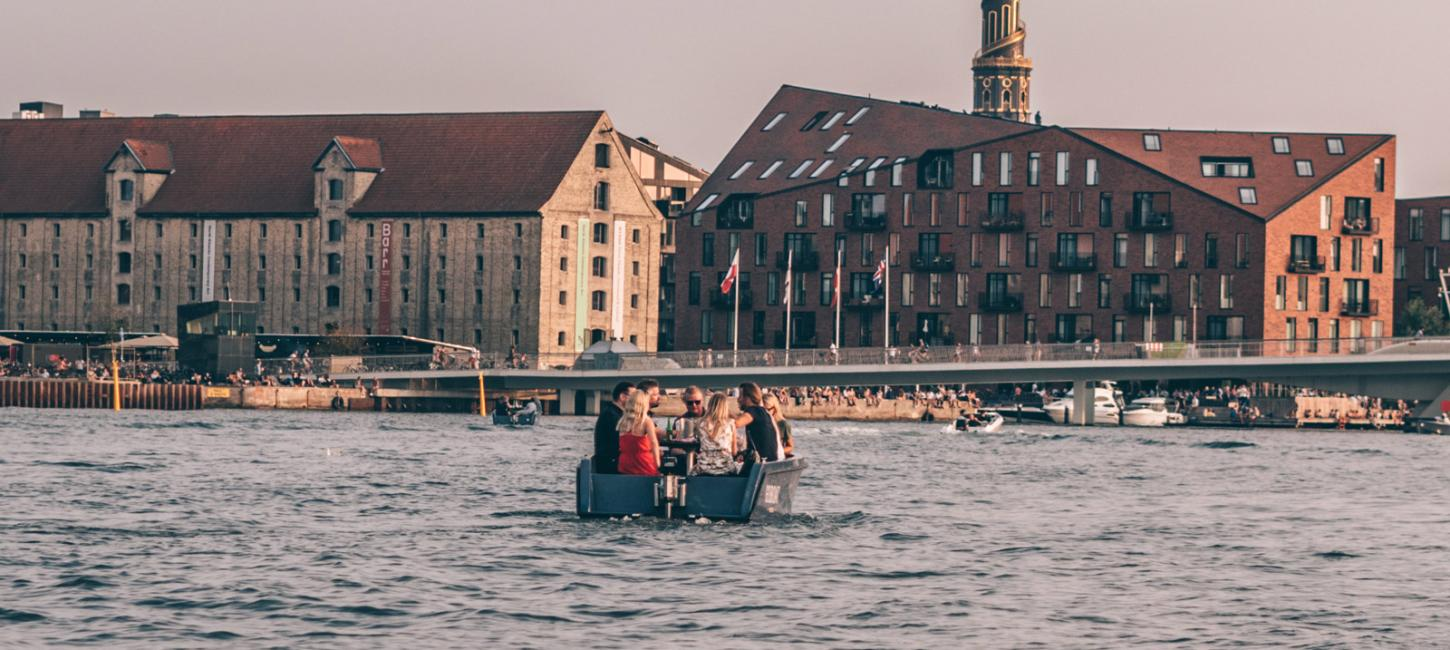 Sailing through Copenhagen Harbour in a GoBoat